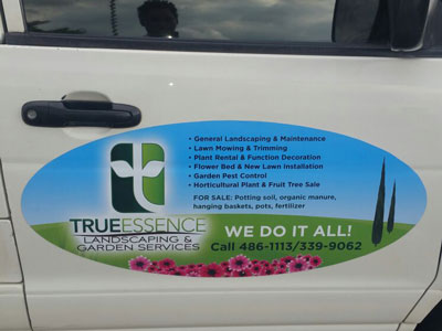 Magnetic panel for True Essence Landscaping